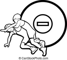 Youth Wrestling - Black and white vector illustration of boy...