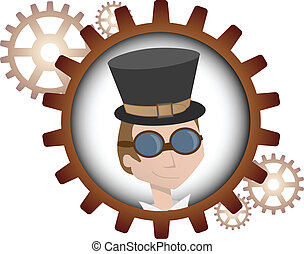 Youthful cartoon steampunk man insi - Logo style portrait of...
