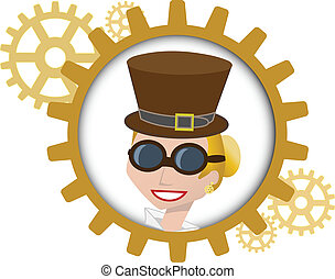 Youthful cartoon steampunk woman in - style portrait of...