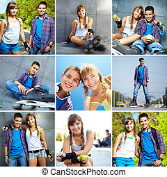 Youthful friends - Collage of happy teens spending free time...