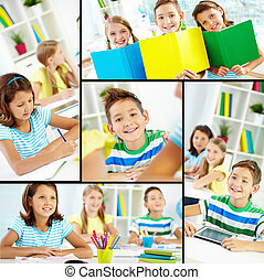 Youthful learners - Collage of happy classmates at lessons