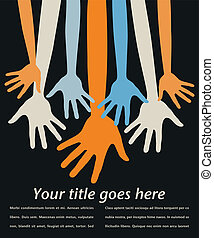 Youthful reaching hands vector. - Youthful reaching hands...