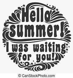 you!typography, iwas, summer!, bonjour, attente, arrière-plan.