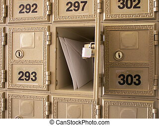 you've got mail - letters in an open mailbox in a wall of...