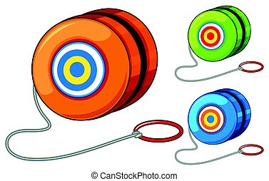 Yoyo in three different colors illustration