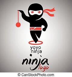 yoyo ninja logo - ninja logo concept designed in a simple...