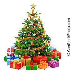 yppig, julgran, med, färgrik, g