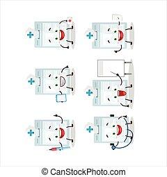 yrke, emoticon, tecken, kort, tecknad film, läkare, id