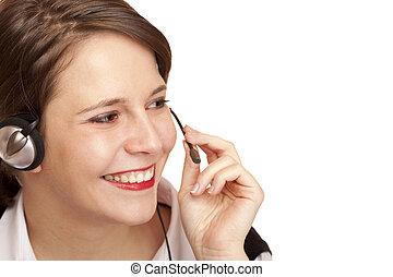yrke, kvinnlig, centrera, ringa, operatör, vänskapsmatch, hörlurar med mikrofon