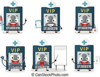 yrke, tecken, tecknad film, läkare, kort, storgubbe, emoticon