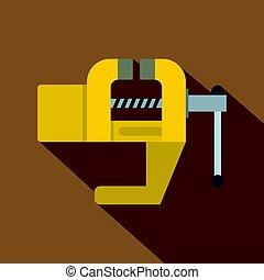 Yrllow vise tool icon, flat style