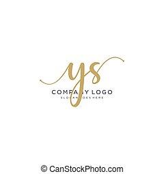 ys, projektować, pismo, logo, początkowy