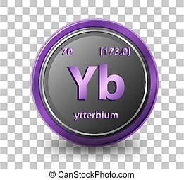 Ytterbium chemical element. Chemical symbol with atomic number and atomic mass.