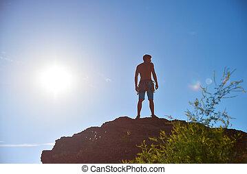 ytterlighet, klättrare, på, a, vagga