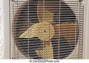 yttre, luftkonditionering, fan, unit.