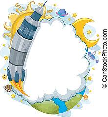 yttre, raket, tomrum inrama, barkass, bakgrund, moln