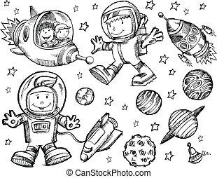 yttre rymden, skiss, klotter, vektor
