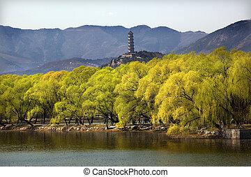 Yu Feng Pagoda Summer Palace Willows Beijing China