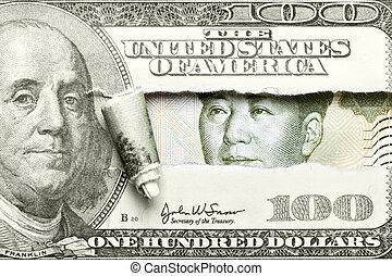 yuan, ドル, vs.