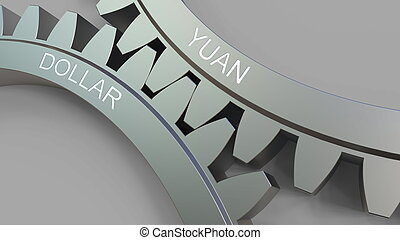 YUAN and DOLLAR words on meshing gears. 3D rendering