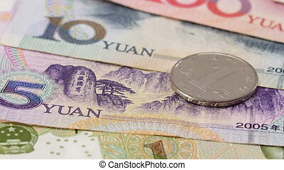 Yuan bank notes and coins business background, sliding video
