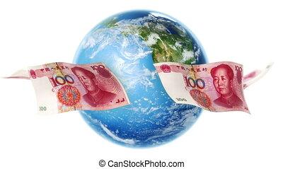 YUAN Banknotes Around Earth Loop - 100 Yuan bills flying...