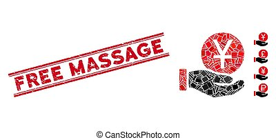 Yuan Coin Payment Mosaic and Grunge Free Massage Stamp Seal with Lines