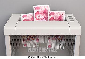 Yuan In Shredder - A regular office paper shredder in the ...