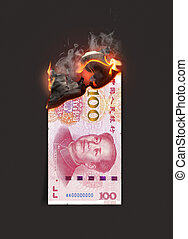 Yuan Note Burning - A concept image showing a half burnt ...