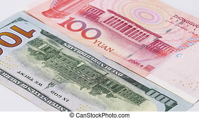 Yuan vs Dollar bank notes rotating concept business background, loop ready