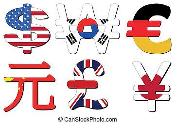 Yuan Yen Euro symbol - American Dollar Korean Won German...