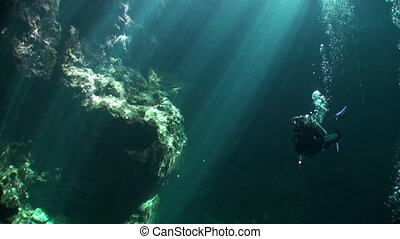 Yucatan caves underwater. Scuba diving in clean and clear...