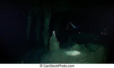 Yucatan cenotes underwater caves. Scuba diving underground...