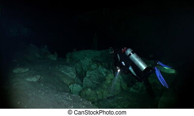 Yucatan cenotes underwater in Mexico. Scuba diving in caves....
