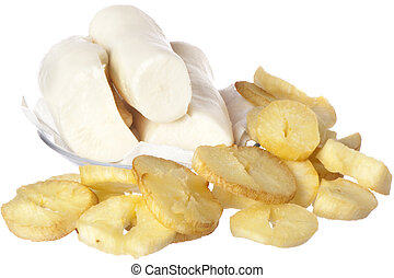 yucca fried and yucca on white background