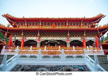 YUCHI, TAIWAN -   15 Nov 2017: Wenwu Temple in Sun Moon Lake National Scenic Area. a famous tourist spot in Yuchi