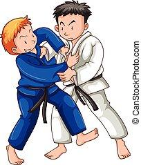 yudo, αθλητής , δυο , παίξιμο