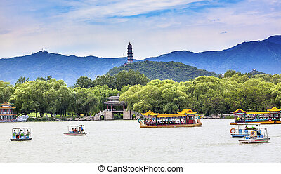 Yue Feng Pagoda Lake Boats Summer Palace Beijing, China