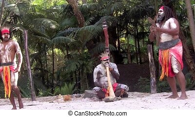 yugambeh, guerriers, aborigène, hommes