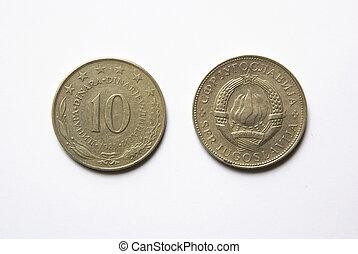 yugoslav, 10, dinar, mynter