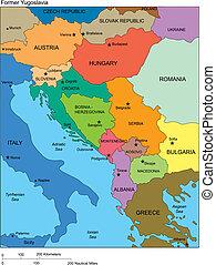 yugoslavia anterior, con, países, nombres