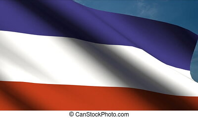 Yugoslavia Flag waving in wind with clouds in background