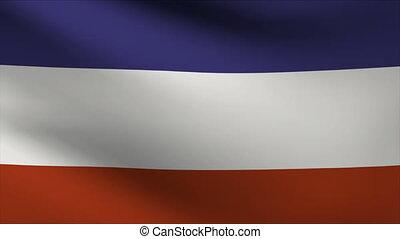 yugoslavia flag waving gently in wind