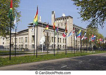 International flags in front of the UN Tribunal for war crimes in the former Yugoslavia