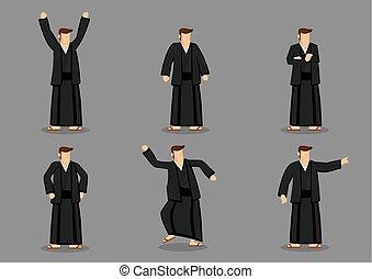 yukata, vettore, giapponese, illustrazione, uomo