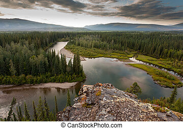 Boreal forest wilderness in beautiful McQuesten River valley in central Yukon Territory, Canada