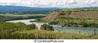 Yukon River Panoramic - Five finger rapids on the Yukon ...