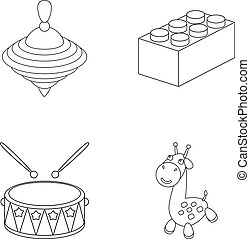 Yula, lego, drum, giraffe.Toys set collection icons in...