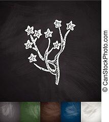Yulan magnolia icon. Hand drawn vector illustration