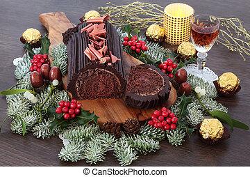 Yule Chocolate Log Cake